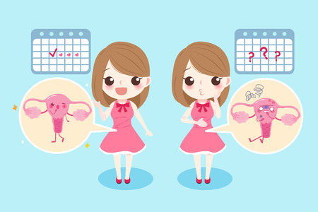 Woman with menstruation problem on the blue background.