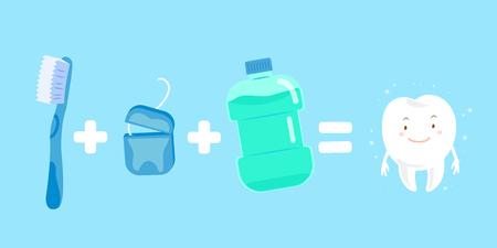 enjuague bucal: Diente de dibujos animados lindo con concepto de salud sobre fondo azul.