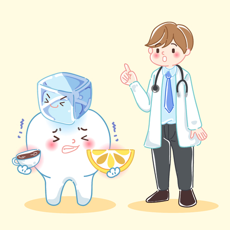 cute cartoon doctor with sensitive tooth problem