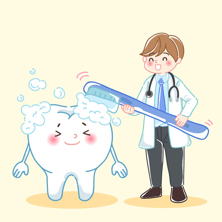 cute cartoon man dentist teach tooth how to brush