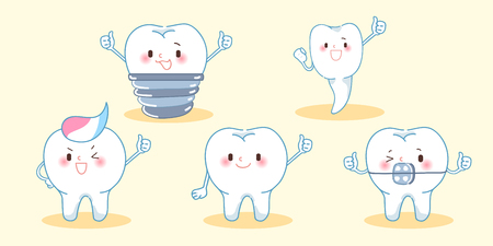 cute cartoon tooth thumb up on the yellow background Vectores