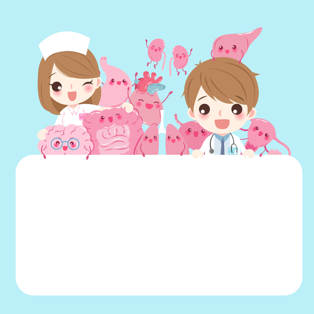 cute cartoon doctor with organ on the blue background