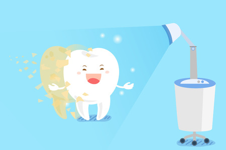かわいい漫画歯白く青い背景の概念
