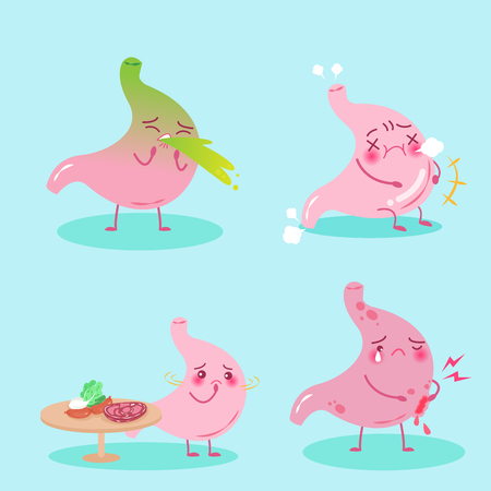 cute cartoon stomach with health problem on the blue background Çizim