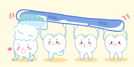 brushing cute cartoon teeth and great for your health