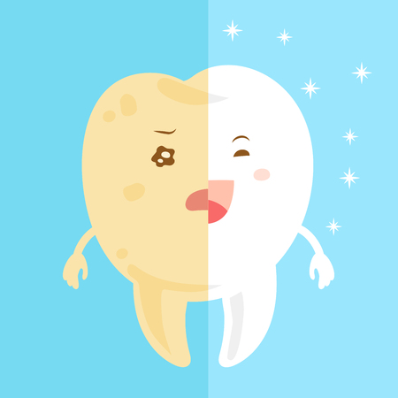 bacteria cartoon: cute cartoon tooth with health concept on blue background Illustration