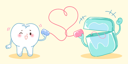 tin can phone: cute cartoon tooth use can phone and speaking happily Illustration