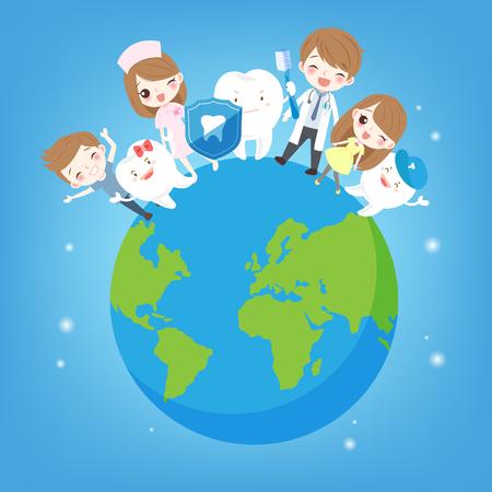 지구에 치아와 귀여운 만화 어린이