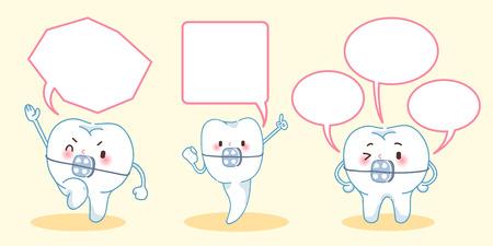 Cartoon tand slijtage brace met tekstballon Stock Illustratie