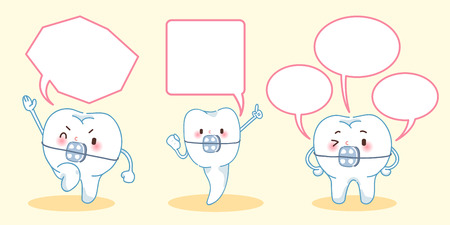 cartoon tooth wear brace with speech bubble Ilustração
