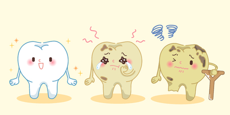 sobbing: cute cartoon tooth with decay problem on the yellow background Illustration