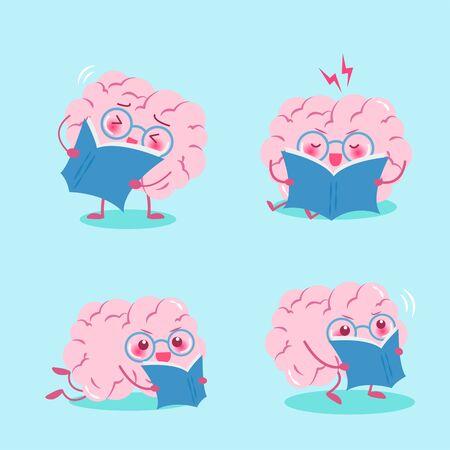 cute cartoon brain read book on the green background