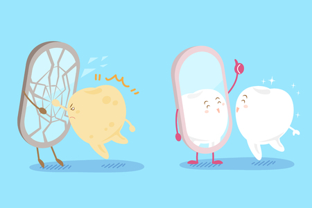 proble: cute cartoon tooht with health concept on the blue background