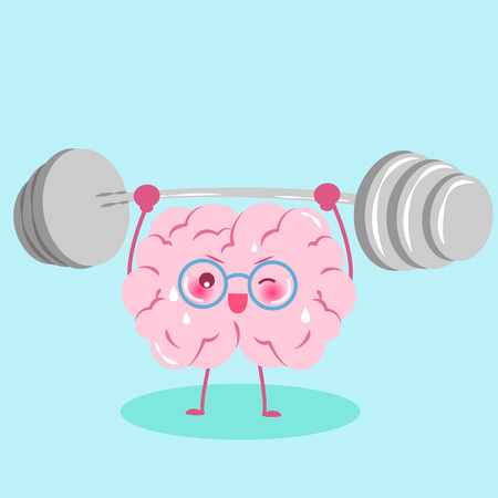 cute cartoon brain with dumbbell on the green background Illustration