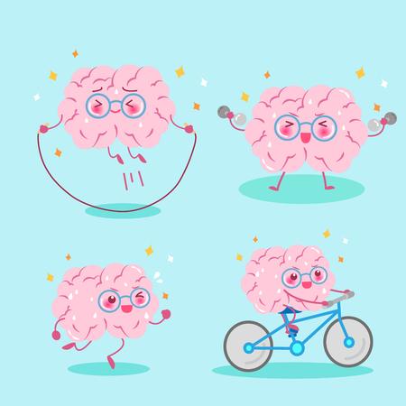 cute cartoon brain do exercise on the green background