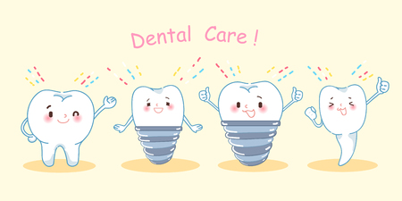 implantation: cartoon tooth with dental care on the yellow background