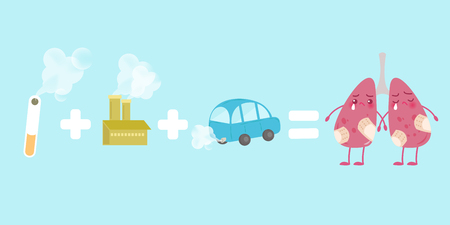 exhaust system: cute cartoon lung with health concept on the blue background