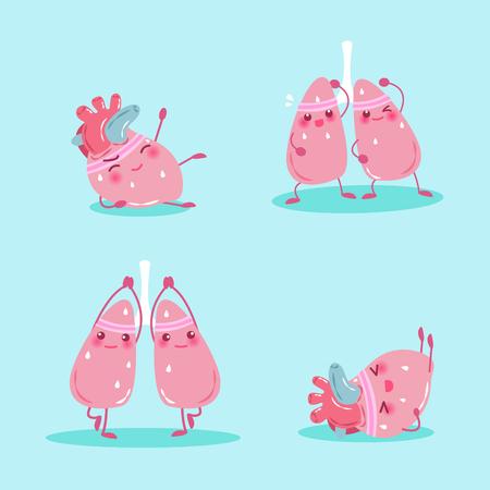 deportes caricatura: dibujos animados de pulmón y corazón hacen ejercicio en el fondo verde Vectores