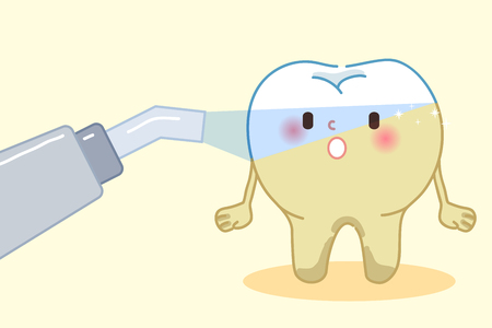 cute cartoon laser teeth with whitening concept