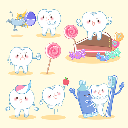 tooth with health concept on the yellow background Illustration
