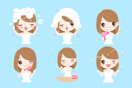 woman with hair care concept on the blue background Vectores