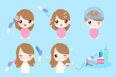 cartoon woman with hair salon on the blue background