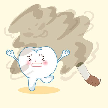 귀여운 만화 치아가 담배를 피우는 것을 두려워하게 만듭니다. 일러스트