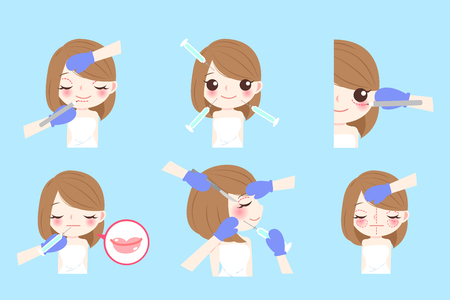 beauty cartoon woman cosmetology her face with equipment Illustration