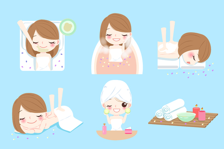 salon and spa: cute cartoon woman do spa on the blue background Illustration