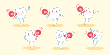 cartoon tooth take microphone and feel happily