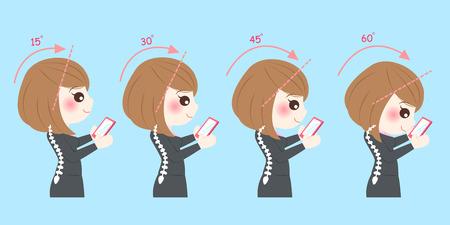 척추 건강 개념 사업가 사용 전화
