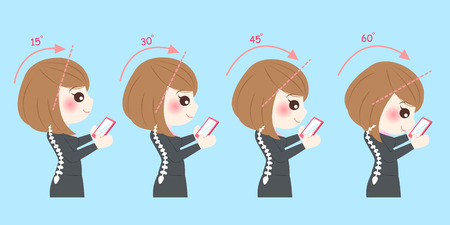 businesswoman use phone with spine health concept Illustration