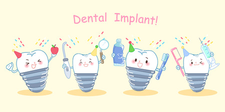 happy cute cartoon dental implants on the yellow background