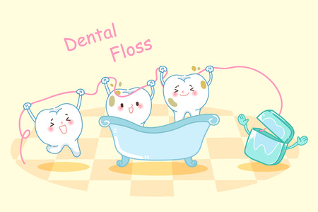 cute cartoon tooth take bath with dental floss Illustration
