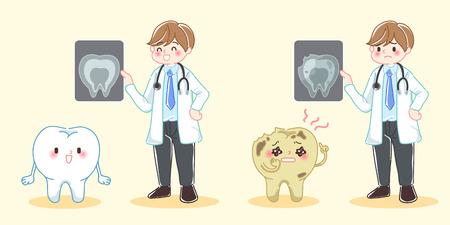 schattige cartoon tandarts met tand probleem op blauwe achtergrond Stock Illustratie