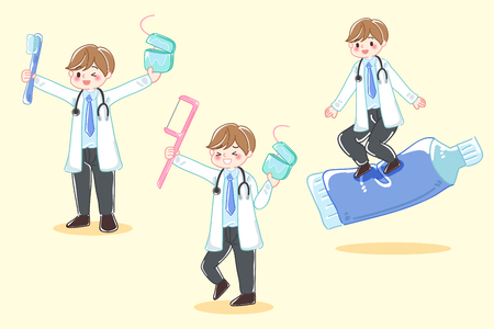 cartoon dentist with tool on the yellow background Illustration