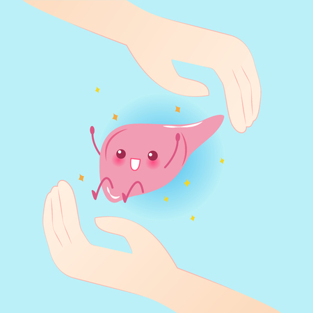 cute cartoon liver with hand on the blue background Illustration