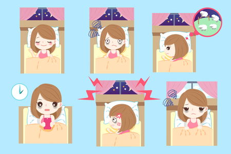 cute cartoon woman with insomnia on the blue background Vettoriali