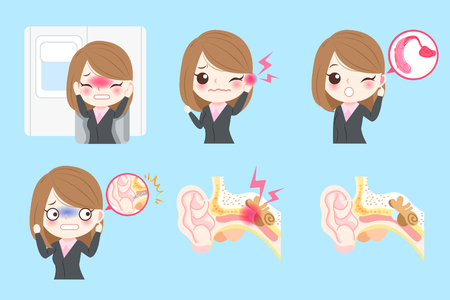 bussinessowman with tinnitus problem on the blue background Illustration