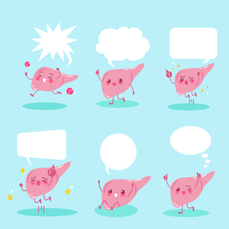 cute cartoon liver with speech bubble on the blue background