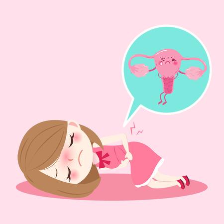 Mulher de desenhos animados com o conceito de saúde do útero em fundo rosa Foto de archivo - 81713090
