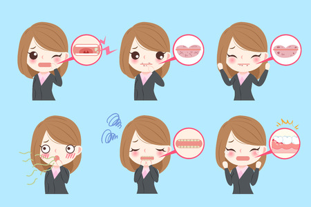 root canal: businesswoman with oral problems on the blue background