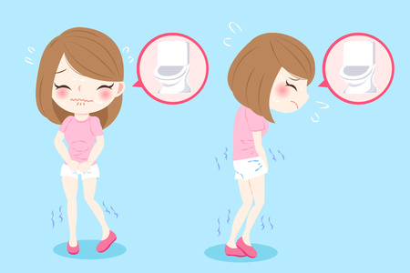 woman with urine urgency problem on blue background