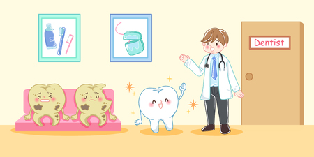 cute cartoon dentist with tooth decay problem