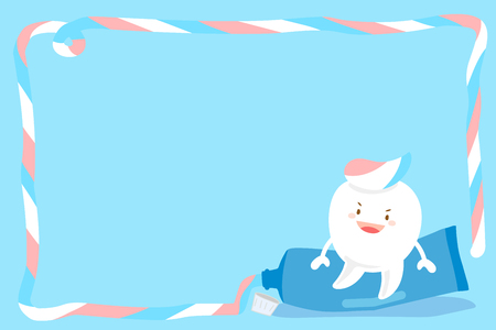 cute cartoon tooth with paste on blue background