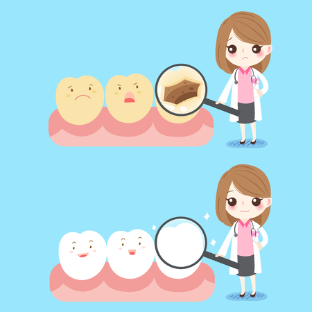 bacteria cartoon: cute cartoon woman dentist with tooth decay problem Illustration