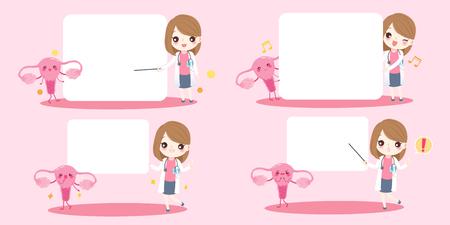 schattige cartoon vrouw arts met baarmoeder op roze achtergrond