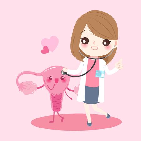 Utérus de dessin animé avec le médecin sur le fond rose Banque d'images - 81739603