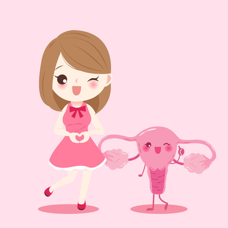 woman smile and show love to you with uterus on the pink background