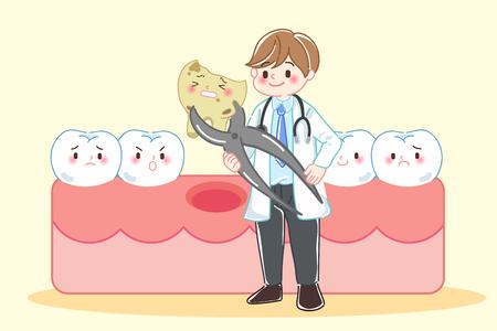 schattige cartoon tandarts met tandbederf probleem